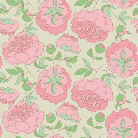 elegant floral seamless pattern for wrapping paper, fabric, background. peony sketch vector illustration. hand drawn spring flower sketch for surface design. Illustration