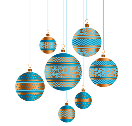 Blue and gold Christmas bauble decor stylized vector illustration. Composition of Xmas tree stripe, dots and snowflakes decorated Illustration