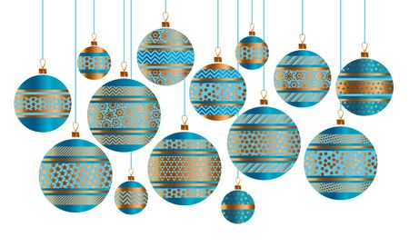 christmas backgrounds: Blue and gold Christmas bauble decor stylized vector illustration. Xmas tree decoration balls with stripe, dots and snowflakes ornament