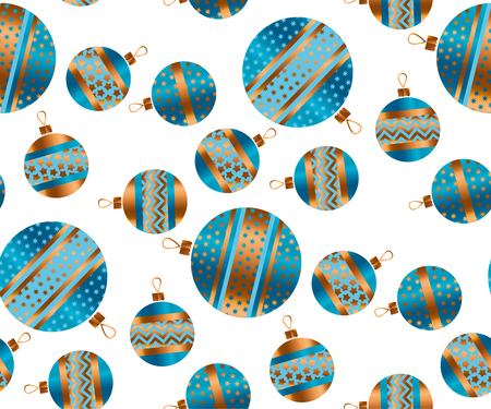 christmas backgrounds: Blue and gold Christmas bauble decor stylized vector seamless pattern. Xmas tree decoration balls with stripe, dots and snowflakes ornament illustration