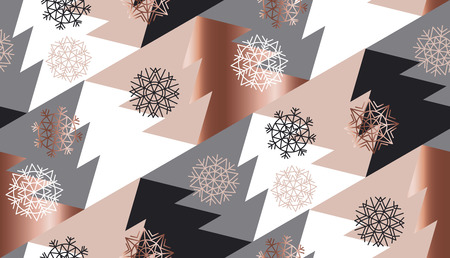 christmas backgrounds: rose gold color abstract xmas tree geometry vector illustration. tender elegant christmas celebration style seamless pattern design