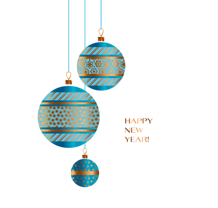 christmas backgrounds: Blue and gold Christmas bauble decor composition vector illustration. Xmas tree decoration balls for card, invitation, greetings Illustration