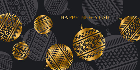 christmas backgrounds: abstract gold new year baubles vector illustration. golden elegant style decorative design for celebration invitation, greeting card, header, banner Illustration