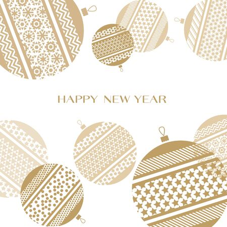 christmas backgrounds: pale color new year baubles vector illustration. golden elegant style abstract design for celebration invitation, greeting card, header, banner