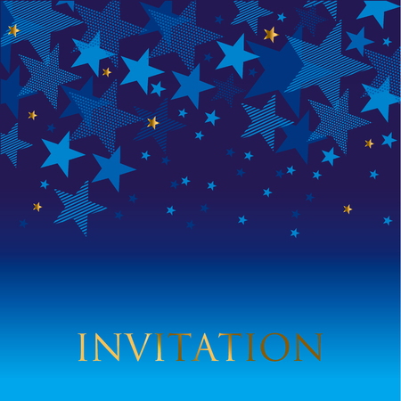 celebrate: blue geometry star background. night absract decorative starspattern for invitatnio, banner, hesder, surface print and web design Illustration