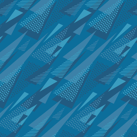 Abstract triangle motif. Marine blue color abstract concept design. Illustration