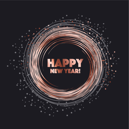 sparkling circle vector illustration. new year abstract background for card, header, poster, invitation. rose gold star on black night color