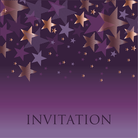 celebrate: new year gold and violet star background. night purple absract decorative starspattern for invitatnio, banner, hesder, surface print and web design