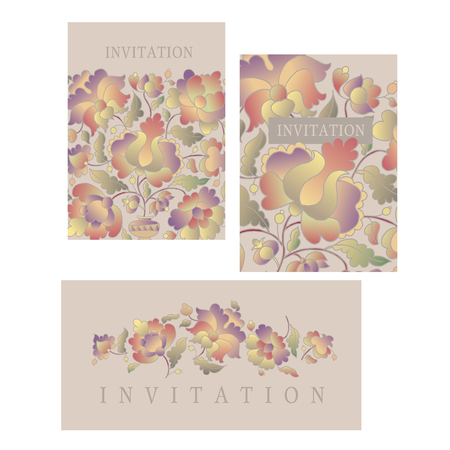 Ukraine traditional peasant style motif for card, wedding invitation, music poster.