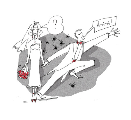 Couple marry. I do not want to marry cartoon. Man and woman family concept illustration. Escape from wedding. Sketch style hand drawn image. Raster illustration. Stock Photo