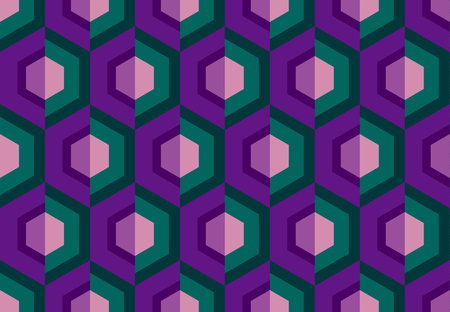 abstract seamless pattern for surface design, fabric, wrapping paper in retro disco style. concept geometry vector illustration with hexagon geometric shapes.