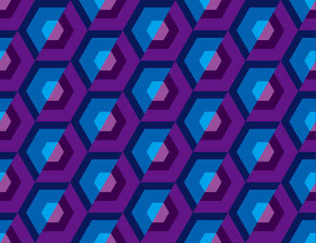 Abstract seamless pattern for surface design, fabric, wrapping paper in retro disco style;  Concept of geometry vector illustration with hexagon geometric shapes. Illustration
