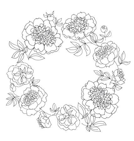 pioenroos bloem krans vectorillustratie. lijn schets hand getekend bloemmotief voor kaart, bruiloft uitnodiging, ontwerp van het oppervlak Stock Illustratie