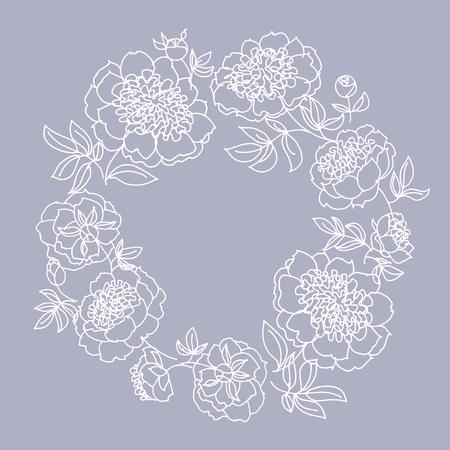 De kroon van de pioenbloem in lijn, patroon van de schets het hand getrokken illustratie voor kaart, huwelijksuitnodiging, oppervlakteontwerp