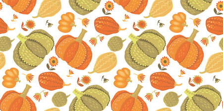 Cute, simple pumpkin seamless pattern illustration for surface design; fall thanksgiving celebration image in colorful illustration.