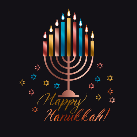 Jewish holiday Hanukkah with traditional menorah with color candle vector illustration on black background Ilustração