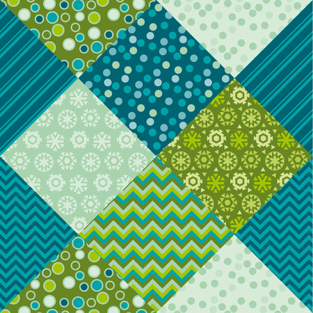 Cute traditional green patchwork pattern. Christmas textile vector illustration. Repeatable motif for  wrapping paper, fabric, background.
