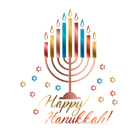 Jewish holiday Hanukkah with traditional menorah with color candle vector illustration on white background