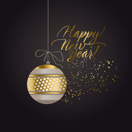 Luxury black and gold abstract xmas pattern. Elegant simple decor for surface design, poster, header, card, invitation. New Year party poster. Ilustração