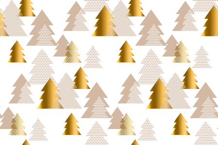 Luxury light new year and xmas tree seamless pattern illustration. Concept Christmas textile and wrapping paper vector motif
