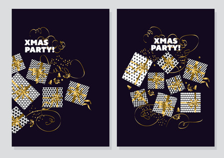 happy new year and xmas concept poster template. gold and black colors christmas vector illustration. flayer, brochure, header with text, star, and present box