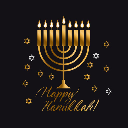 Jewish holiday Hanukkah with gold menorah (traditional Candelabra) vector illustration on black background.
