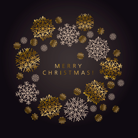 Luxury black and gold snowflake xmas pattern. Elegant simple decor for surface design, poster, header, card, invitation. New Year party poster. Ilustração