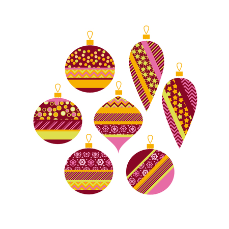 happy new year and xmas poster template with color bauble. decoration balls vector illustration for flayer, brochure, header, card.