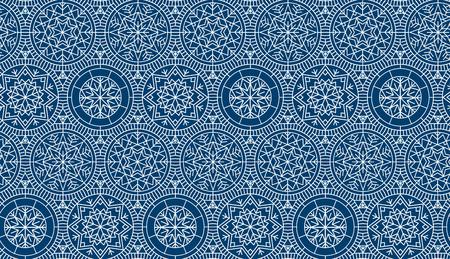 종이, 패브릭, 배경 포장지에 대 한 진한 파란색 반복 모티프. 추상 겨울 벡터 배경입니다. 크리스마스와 새 해 우아한 럭셔리 스타일 원활한 패턴입니