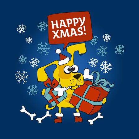 Yellow dog with xmas present and bone in the mouth Illustration