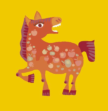 かわいい漫画馬ベクトル イラスト。赤い子馬の楽しい動物マスコット。