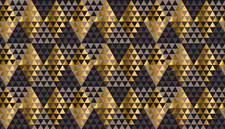 Luxury geometry black, gold and beige seamless vector illustration. Concept triangle geometric pattern for card, invitation, header print and web design, wrapping paper, fabric.