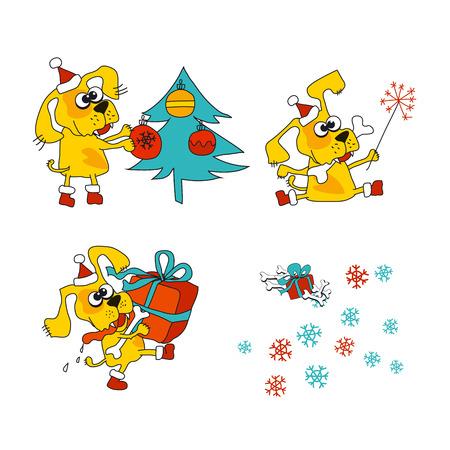 Cool yellow dog mascot. Cartoon set. Funny winter xmas animal in Santa hat with gift box. Christmas and Chinese New year Vector illustration