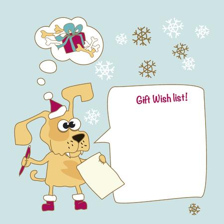 Cool yellow dog mascot cartoon. Funny winter xmas animal in Santa hat with Christmas gift wish list. New Year Vector illustration
