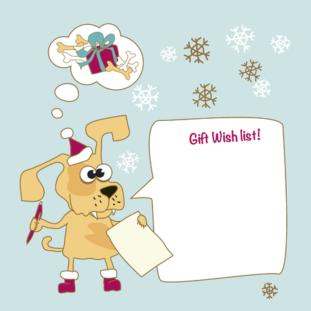 Cool yellow dog mascot cartoon. Funny winter xmas animal in Santa hat with Christmas gift wish list. New Year Vector illustration