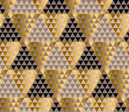 Luxury geometry black, gold and beige seamless vector illustration. Concept triangle geometric pattern for card, invitation, header print and web design, wrapping paper, fabric. Vettoriali