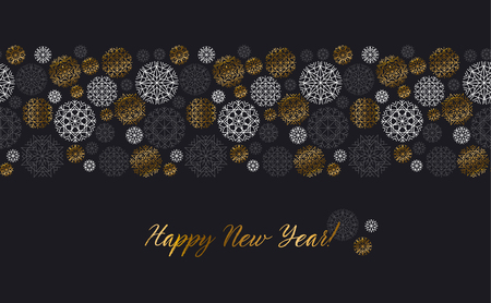 Luxury gold and black header template. Christmas decorative snowflake background. Vector illustration with new year snow for xmas card, invitation, surface design.
