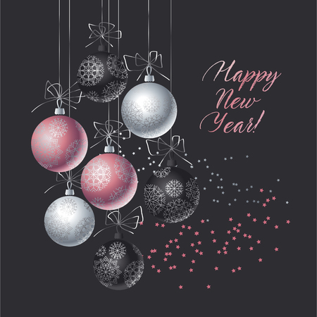 Christmas decorative bauble on black background. Vector illustration with new year balls for xmas card, invitation, surface design. Luxury rose gold ornament elements. Stock Illustratie