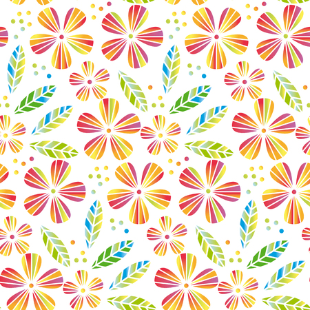 Tropical flowers and leaves simple and decorative vector seamless element for surface design, wrapping paper. Illustration
