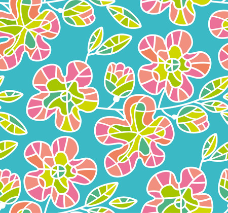Seamless vector pattern with little pale color sakura flowers blossom.