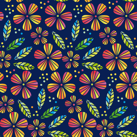 Tropical flowers and leaves simple and decorative vector seamless element for surface design, wrapping paper. Summer colorful cute style floral pattern illustration on deep blue background 免版税图像 - 92423764