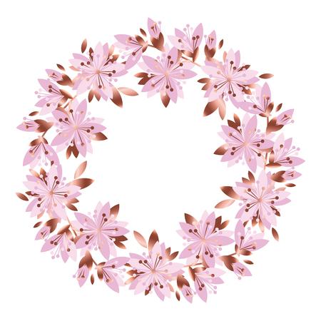 淡いピンクの庭の花の花輪。ベクトル グリーティング カード テンプレート。ポスターのデザイン要素、表面デザイン。ピオニー、ローズ、ライラック、ギリフラワー 写真素材 - 92428245