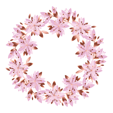 Pale pink garden flowers wreath. Vector greeting card template. Design element for the poster, surface design. Peony, rose, lilac, gillyflower.