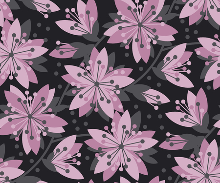 Concept abstract floral seamless pattern. Black and violet flower motif for surface design, fabric. Spring sakura cherry blossom background. Illustration
