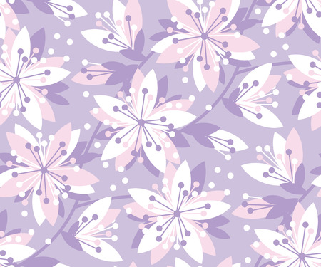 Spring floral vector seamless pattern. Spring blossom motif with sakura flowers for background, surface design.