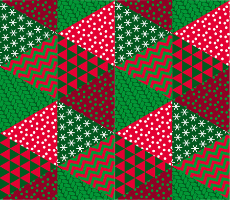 Concept patchwork xmas design for header, banner, card, poster, invitation. Seamless winter Christmas geometry pattern. Illustration