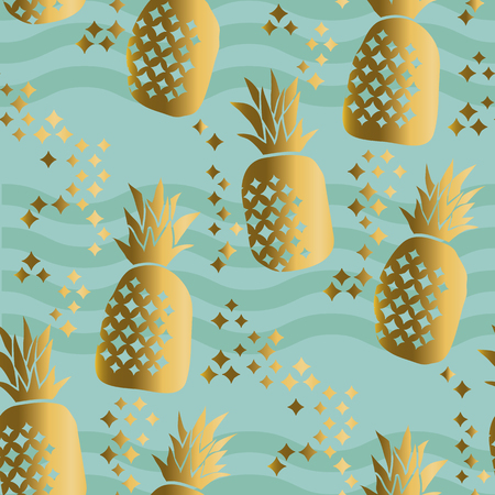 Concept gold luxury pineapple seamless pattern. Summer tropical repeatable motif for surface design, background, fabric.