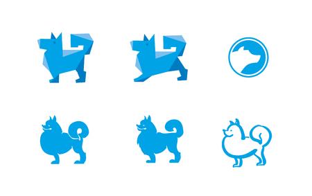 Dog logo vector illustration. Concept minimalistic design. Mascot pat.