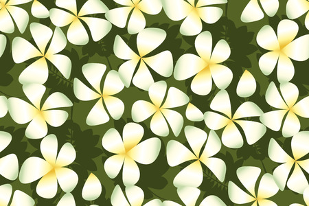 White plumeria flowers in simple elegant style on deep green leaves. Abstract decorative frangipani floral vector illustration. Seamless pattern. Repitable motif