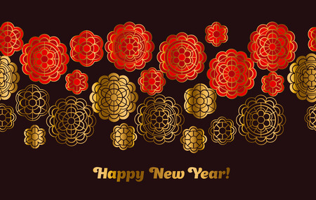 Red and gold pattern in china style. Vector illustration for card, invitation, Chinese New Year celebration.